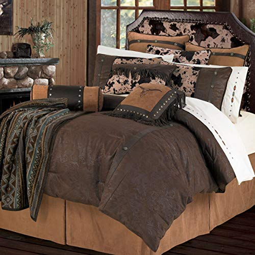New HiEnd Accents Caldwell Western Cowhide Print & Faux Leather Bedding Set, Full, Chocolate Brown 5...