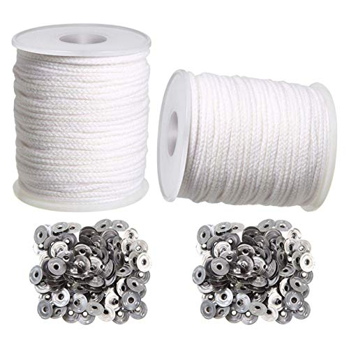 RJJX Candle DIY Tools,2 Rolls Braided Candle Wick Cotton Core And 200 Pcs Candle Wick Sustainer Tabs For Candles DIY Crafts (Color : White silver)
