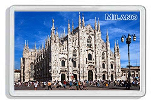 AWS Magnete in PVC Rigido Duomo di Milano Milan City Souvenir Città Gadget calamita Fridge Magnet Magnete da frigo in plastica Dura con Immagine Fotografica Città Italia Italy Dome