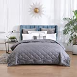 Queen Size Weighted Blanket (30lbs, 80''x 87''),Adult Weighted Blanket with 100% Soft Cotton and Glass Beads for Queen or King Size Bed -Dark Grey