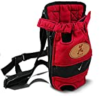 MaruPet Front Cat Dog Backpack Travel Bag Sling Carrier Portable Outdoor Lightweight and Safe Soft Comfortable Puppy Kitty Rabbit Double-Sided Pouch Shoulder Carry Tote Handbag Red S