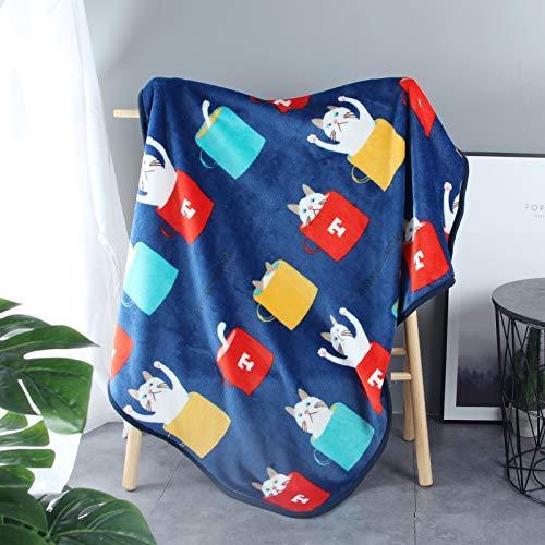 Liumenglin Manta para Mascotas Gato de Cuatro Estaciones con Almohadilla para Nido Colcha de Gato Manta para Perro 100 x 70 cm Azul C