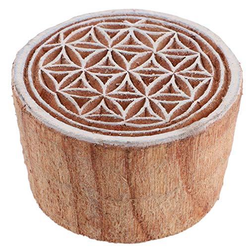Guru-Shop Indischer Textilstempel, Stoffdruckstempel, Blaudruck Stempel, Holz Model - Ø 5 cm Blume des Lebens 3, Braun, Indische Holzstempel
