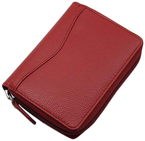myledershop Universal Leder Kreditkartenetui und Geldbörse/Geldbeutel/Portemonnaie/Portmonaise/Geldtasche/Portmonee in Schwarz oder Rot (Rot)