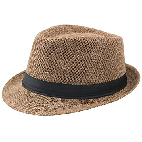 Coucoland Panama Hut Mafia Gangster Herren Fedora Trilby Bogart Hut Herren 1920s Gatsby Kostüm Accessoires (Kamel)