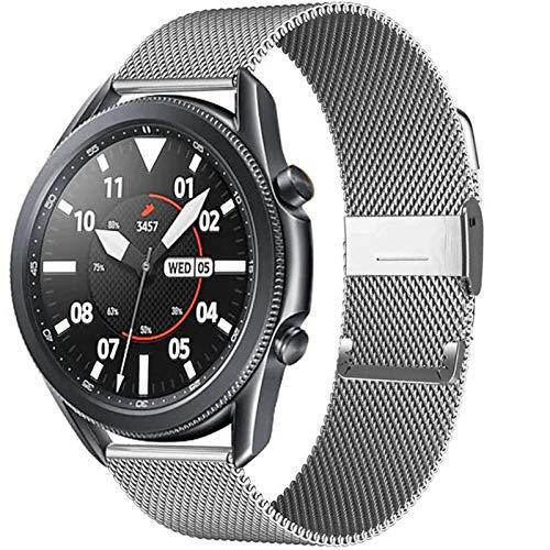 WWXFCA 20 / 22mm para Huawei Watch GT2 Pro/FIT Band para Samsung Galaxy Watch 3 45 / 41mm Cinturón de Acero Inoxidable Milanese Active 2 46 / 42mm Correa