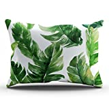 ONGING Decorative Pillowcases White Watercolor Green Tropical Leaves Pattern Customizable Cushion Rectangle Lumbar Size 12x24 inch Throw Pillow Cover Case Hidden Zipper One Side Design Printed