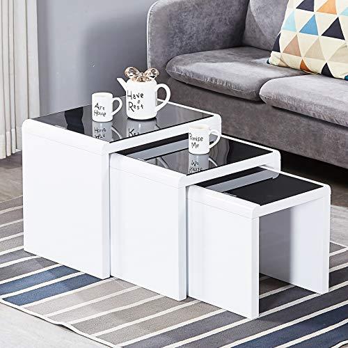 4 Set Beistelltisch Moderne Hochglanz Sofatische minimalistisch skandinavischer Stil Couchtische mit Beinen Tischkombination fürs Wohnzimmer Balkon (Schwarz)