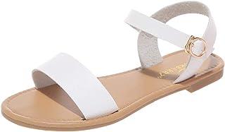 Sandalias Mujer Verano 2020 Roma Flat Sandalias Punta Abierta Cuero Fondo Plano Casuales Zapatos Romanas Hebilla Playa Cha...