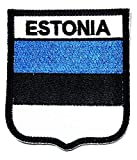 Nipitshop Aufnäher Estland Flagge Nationalemblem Aufbügler für Kleidung Rucksäcke T-Shirt Jeans Rock Westen Schal Hut Tasche