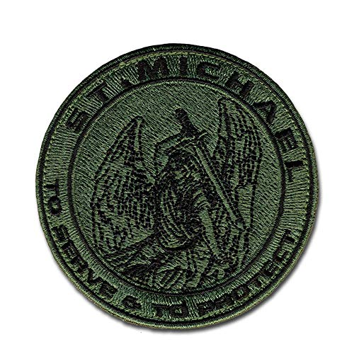 BASTION Morale Patches (St. Michael, to Serve & to Protect, ODG) | 3D Embroidered Patches with Hook & Loop Backing | Clean Stitching, Christian Patches for Tactical Bag, Hats & Vest