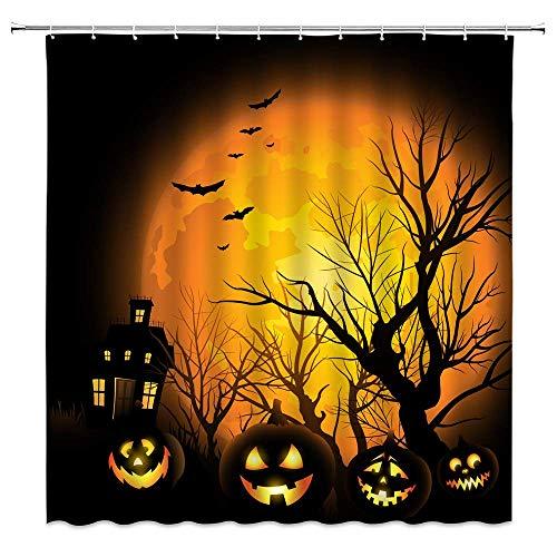 AdaCrazy Halloween Moon Duschvorhang Kürbis Lampe Twiggy Twig Schloss Fledermaus Nacht Mond Schwarz Orange Bad Vorhänge Dekor Polyester Stoff Schnelltrocknende 72x72 Zoll Inklusive Haken