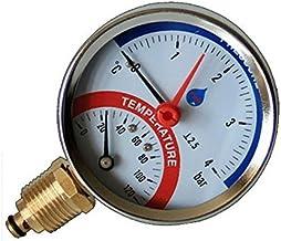 """80mm línea 0-120C 0-10 BAR Entrada lateral de temperatura Indicador de presión de 1/2 """"BSP Thermomanometer"""
