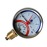 80mm línea 0-120C 0-4 BAR Entrada lateral de temperatura Indicador de presión de 1/2
