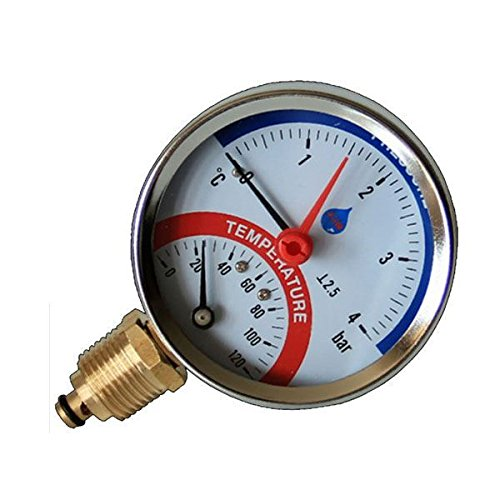 80mm 10 BAR Seiteneingang 120C Temperatur Manometer 1/2