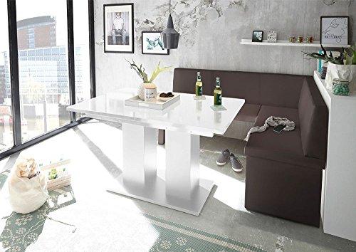 Mystylewood hoekbank Olga bruin met zuiltafel keukenbank zithoek dik bekleed kunstleer onderhoudsvriendelijk stabiel houten frame rechts KL 168x128 cm Rechts wit