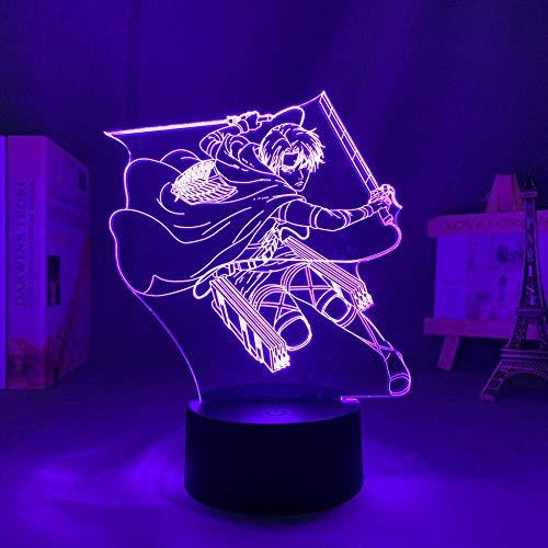 Lámpara 3D Anime Luz Nocturna Luz Ilusión Luz Nocturna Fijación sobre Titan Leves Ackerman Led para Dormitorio de Cama Decoración Niños Regalo Attack On Titan