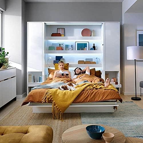 Schrankbett Bed Concept, Wandklappbett mit Lattenrost, Regale und LED-System, V-Bett, Wandbett Bettschrank Schrank mit integriertem Klappbett Funktionsbett (BC-07, 140 x 200 cm, Weiß/Weiß, Vertical)