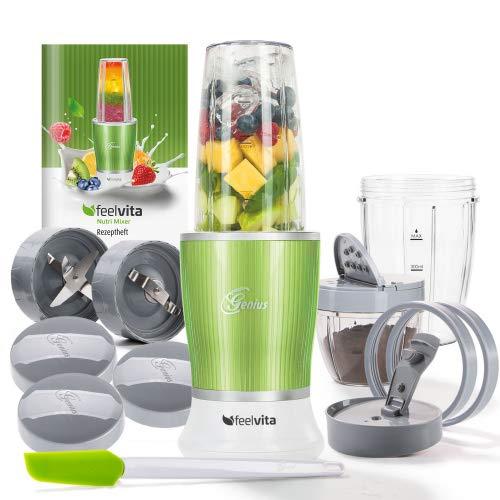 Genius Feelvita Nutri Mixer   Grün   14 Teile   Stand-Mixer   Smoothie-Maker   Mixen & Rühren   23000 UpM   600 Watt   1 Liter   TV-NEU