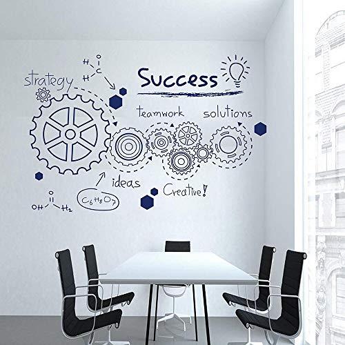 Engranaje calcomanías de pared trabajo en equipo oficina inspiradoras palabras de éxito seis pegatinas para ventanas estudio de aula decoración de interiores mural