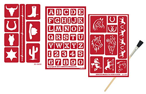 3 Armour Etch Over N Over Reusable Glass Etching Stencils Set | Horse, Western and Southwestern Fonts Theme Stencil | Set Includes Brush, Total 4 Items