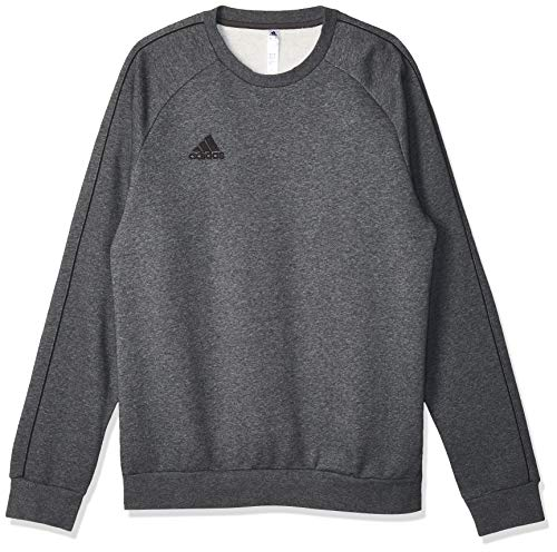 adidas Core 18 SS, Felpa Uomo, Grigio (Dark Grey Heather/Black), L