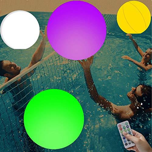 Outskirts Juguetes de piscina inflables LED iluminan la bola de playa, 16 colores de luz que brillan con 4 modos de luz, juegos de piscina para adultos y niños grandes