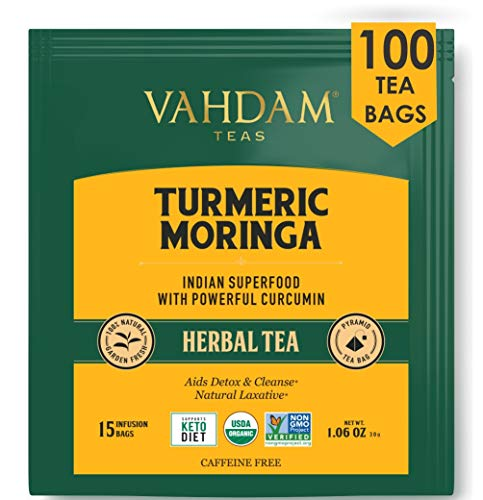 VAHDAM, Turmeric + Moringa SUPERFOOD Herbal Tea, 100 Count | India