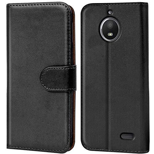 Verco Cover kompatibel mit Motorola E4 Hülle, Handyhülle für Motorola Moto E4 Tasche PU Leder Flip Hülle Brieftasche - Schwarz