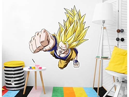Vinilo de Pared Tamaño Real Dragon Ball Z Goku Super Sayan Producto Oficial   124x130 cm...