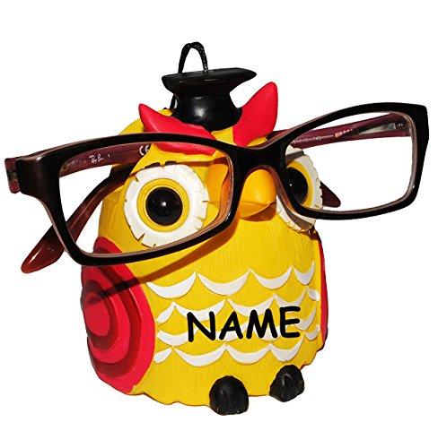 """"""" verschiedene Eulen """" - Brillenhalter - incl. Name - universal Größe - für Kinder & Erwachsene / stabil aus Kunstharz - Brillenhalterung - für Sonnenbrille Lesebrille - Brillenablage - lustiger Brillenständer / Eule Vögel lustige Schule Prüfung"""