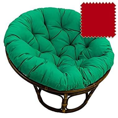 42-Inch Bali Rattan Papasan Chair with Cushion - Solid Twill Fabric, Red - DCG Stores Exclusive