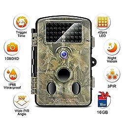 Wasserdichte, 1080P-HD-Infrarot-Überwachungskamera mit 12MP, 42IR-LEDs, mit Winkelansicht und 6,1-cm-LCD-Display für die Jagd von Crenova