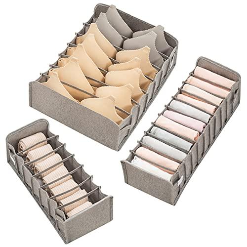 Queta Cassetto Organizer per Biancheria Intima Set di 3 Organizer per Cassetti Pieghevole Storage Box Utilizzato per Rganizzare Biancheria Intima, Reggiseni, Sciarpe Seta, Fazzoletti,Grigio