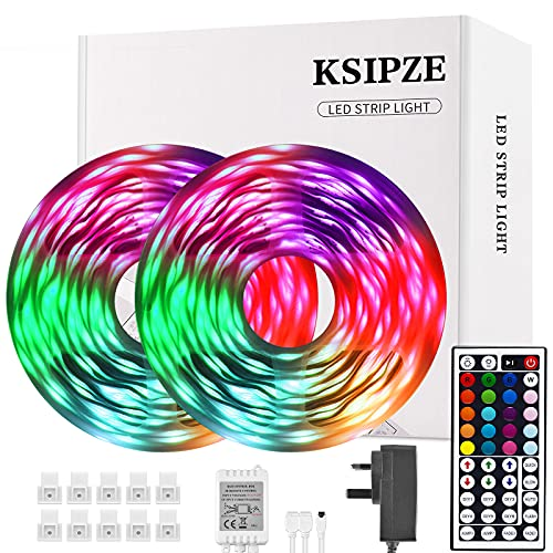 Ksipze Led Strip Lights 15m RGB Led Lights SMD 5050 LEDs Rope Light with Remote Control and Control Box Led Lights Strip with Multi-Color Lights for Bedroom Kitchen Holiday Decoration