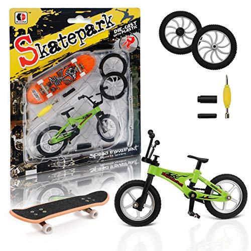 CS COSDDI Finger Skateboard Mini Fingerspielzeug Finger Fahrrad Roller Mini Fingerboards Bevorzugt Ersatzräder Skatepark Spielzeug für Kinder als Geburtstag Geschenk (Zufällige Farbe)