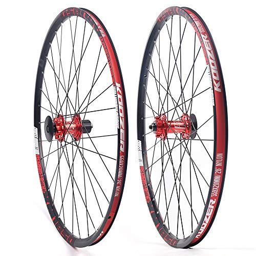 WINUS Road Bike Wheelset, MTB Alloy Wheels 26inch 650B Aluminium Mountain Clincher Bike Wheel (Black red)