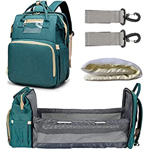 3 in 1 Diaper Bag Backpack with Extendable Folding Crib,Multifunction Nappy Bag Changing Station Include Changing Pad & Stroller Straps,Portable Waterproof Mummy Bag(Green)