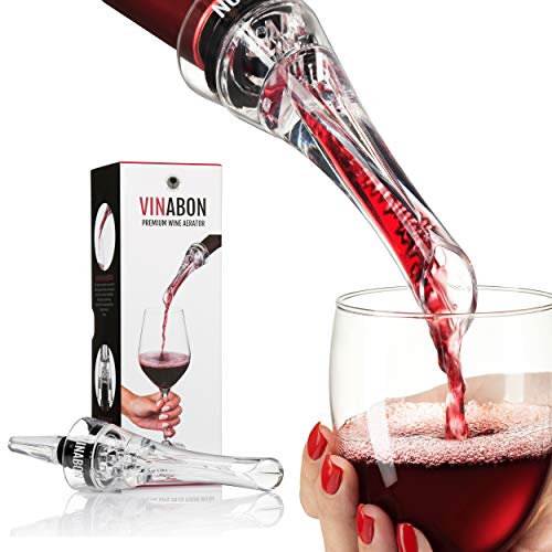 VINABON Wine Aerator - Premium 2020 Aerator Wine Pourer - Wine Aerator Pourer - Wine Pourer - Wine Spout - Red White In Bottle Wine Aerator Kit - Slow Mini Travel Wine Air Aerators - eBook Wine Guide