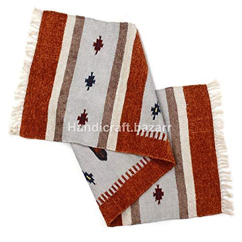 Handicraft Bazarr - Juego de alfombras de salón de 2 x 6 pies, diseño vintage kilim de seda rústico de mesa de alfombra de mesa de alfombra de cocina tejida, juego de 2 x 6 pies de meditación