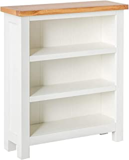 Farrow White Low Bookcase with Oak Top | Roseland Furniture Painted Small Solid Wood Bookshelf with 3 Shelves for Living R...
