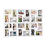 Relaxdays Marco de fotos múltiple, 24 fotografías, 9 x 13, Formato vertical o apaisado, Plástico, Blanco, 57 x 86 cm