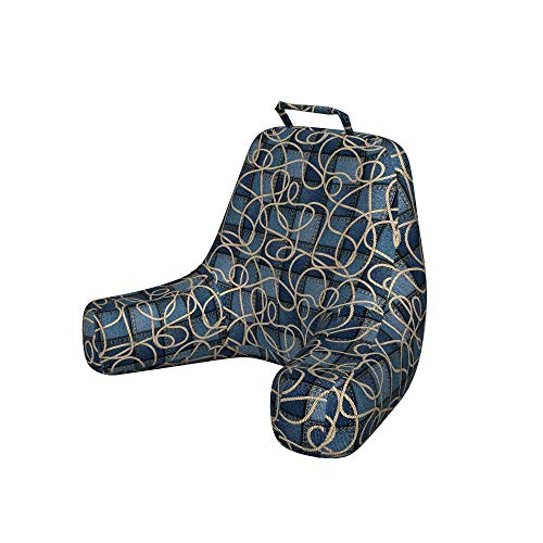 Ambesonne Nautical Bedrest with Back Pocket, Various Patches of Denim in Sea with Sailor Knot Rope on Foreground Image Art Print, Decorative Pillow with Shredded Foam for Reading, X-Large, Blue