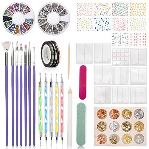 Wodasi Kit de Accesorios Decoración Uñas Nail Art, 60 Pcs Kit Decoracion...