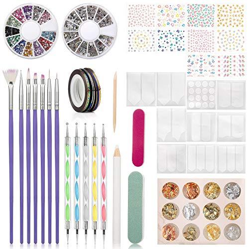 Wodasi Kit de Accesorios Decoración Uñas Nail Art, 60 Pcs Kit Decoracion Uñas, Kit de Herramientas para Manicura de Uñas con 15 Pinceles para Uñas, Lápiz de Punto, Cintas Adhesivas Uñas, etc