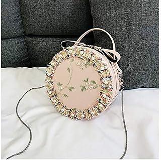 YKDY Shoulder Bag Retro Style Lace Pearl Casual Shoulder Bag Messenger Bag Ladies Handbag Small Round Shoulder Bag (Pink) (Color : Pink)