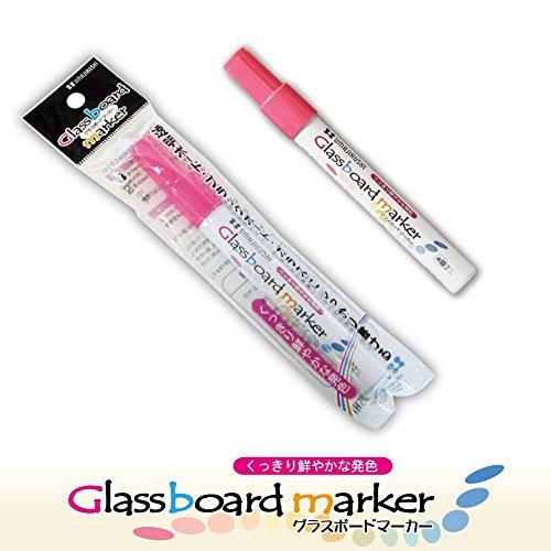 馬印 透明なボードに書ける!【高発色 グラスボードマーカー】 (蛍光ピンク)
