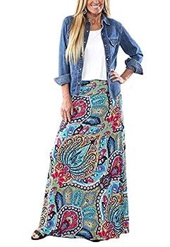 Yinggeli Women s Bohemian Print Long Maxi Skirt  Medium B-Flower
