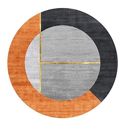 YJRBZ Carpettes Tapis Ronde Moderne Salon Chambre Blanket Chevet Tapis de Yoga Ordinateur Chaise antiglisse Tapis de Mode Tapis - Solide Couleur Splicing (Color : Orange, Size : Diameter 140cm)