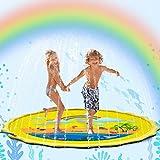 Flybiz Splash Pad, Anti-Rutsch Spielzeug Sprinkler Play Matte, 170cm Sommer Garten Wasserspielzeug Kinder Baby Pool Pad Spritzen für Outdoor Familie Aktivitäten/Party/Strand/Kinder/Haustiere